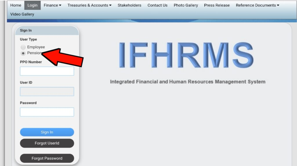 IFHRMS pensioner pay Slip Download